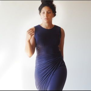 Dresses & Skirts - Navy Asymmetric Bodycon Midi Dress