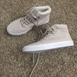 Faux fur lined high top sneakers