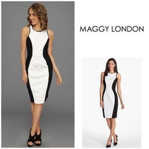 New w/ Tags Maggy London Colorblock Stretch Dress