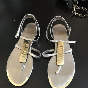 DOLCE VITA mixed metal t-strap sandals