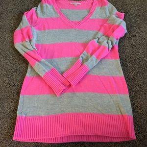 Gap Sz large pink striped sweater
