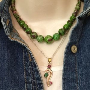 Jewelry - Ruby/Emerald & Fuchsite Necklace Set
