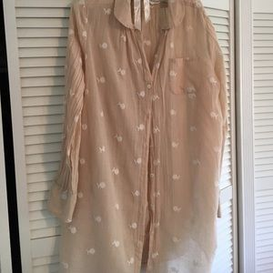 Anthropologie Mermaid embroidered button down, L