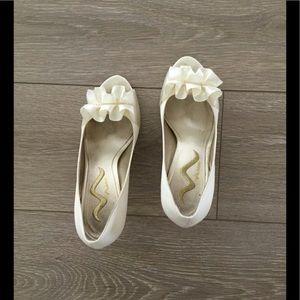 Nina white heels