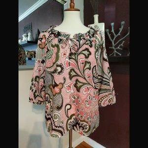 EUC Ann Taylor Floral and Paisley Blouse