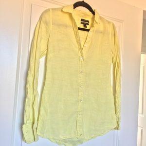 Yellow J crew linen shirt