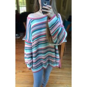 🍂 Vintage Leona Slouchy Striped Knit Sweater 🍂