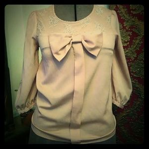 Tops - Vintage Style Bow Front Blouse