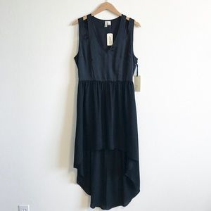 black Forever 22 sheer high low cut out dress L