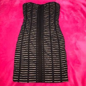 Strapless Black and Tan dress