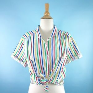 🌈1970s rainbow striped button down blouse🌈