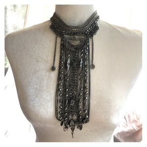 Free People Tribal Boho Silver Choker NWOT