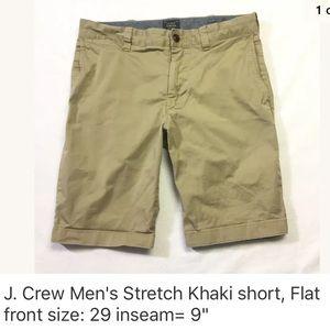 "J. CREW 9"" inseam Khaki Stretch Shorts Size:29"