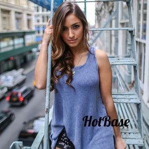 Tops - Blue Ribbed, Heavy Thermal Tank