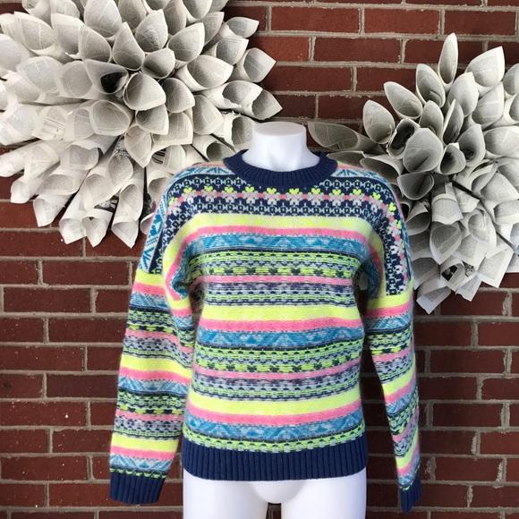 J. Crew - J Crew lambswool neon fair isle Nordic sweater c38 from ...