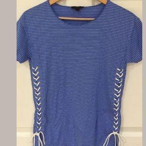 J. Crew T Shirt Light Blue White Stripe Size Small