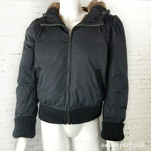 J. Crew Black Hooded Down Bomber Faux Fur Lined S