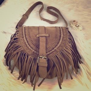 Handbags - Fringe adjustable strap purse