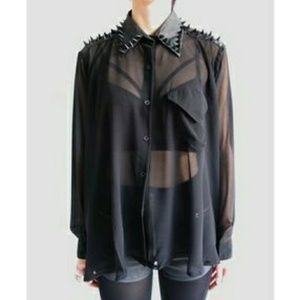 UNIF Black Spikes Leather Collar Chiffon Sheer Top