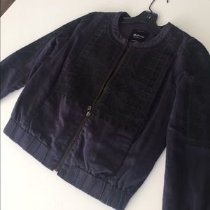 Madewell navy blue bomber jacket w/ lace accents