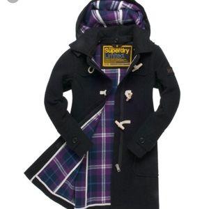 Superdry duffle coat size medium in black marl