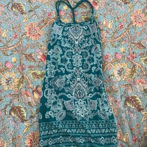 Green paisley print dress