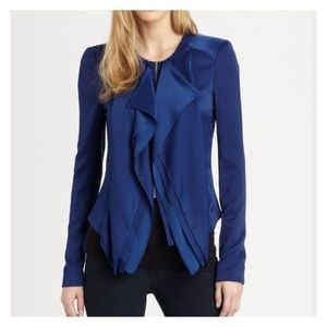 BCBG Max Azria Jacket Size Large Blue Ruffled