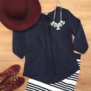 Navy Button Up Blouse with 3/4 Length Sleeves
