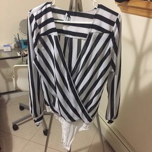 Bebe Stripe Bodysuit Blouse