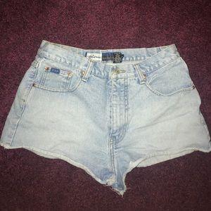 Express high waisted jean shorts