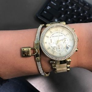 Michael Kors Gold Bangle with Lock and Stones