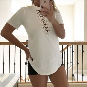 Tops - White lace up ribbed shirt