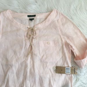 Ralph Lauren shell pink linen lace up blouse