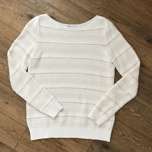 Madewell White & Peach Sweater
