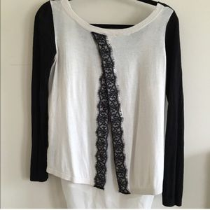 (Back shown) Express Sweater with Lace Slit Back