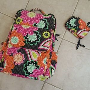 Vera Bradley Backpack and Wallet Set