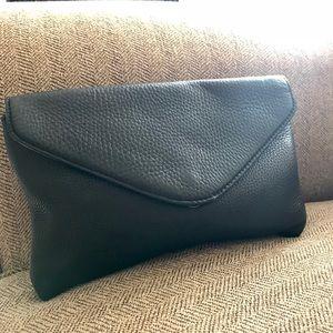 J. Crew Invitation Marbled Black Leather Clutch