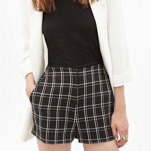 High Waisted Black Plaid Shorts