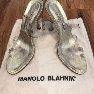 Manolo Blahnik strappy clear heels!
