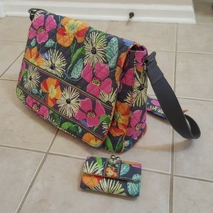 Vera Bradley Messenger Bag, Book laptop Wallet Set