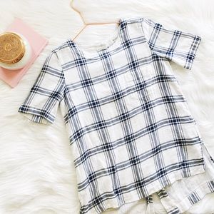Madewell Industry Plaid Button Back Top