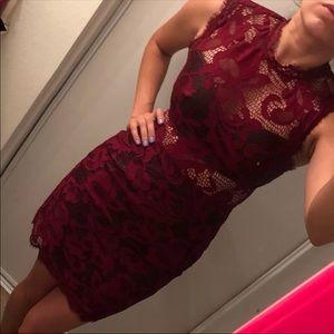 Lace, Faux Leather Dress