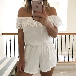 Pants - White off the shoulder romper
