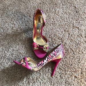 Carlos Santana pink paisley leopard pumps. 7 1/2