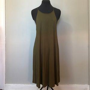 Green hi neck swing dress