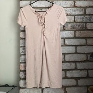 Forever 21 Baby Pink Ribbed Tie Up Dress
