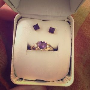 Jewelry - 10K Gold Amethyst Birth Stone Ring and Earring Set