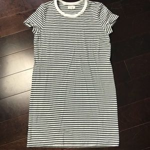 Lou & Grey - Green and White Striped T-Shirt Dress