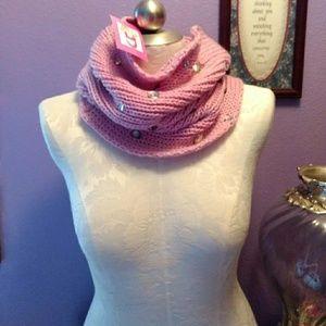 Betsey Johnson infinity scarf & fingerless gloves