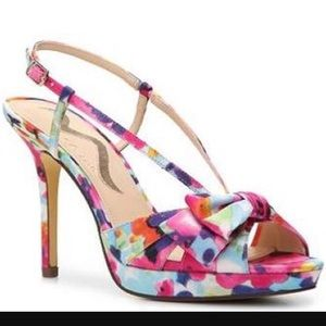 Nina Felita floral abstract bow slingback heels